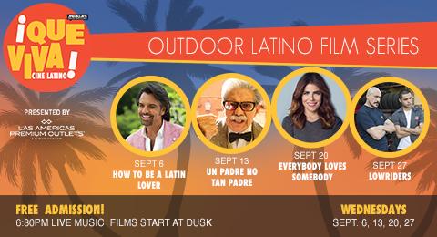 ¡Que Viva Cine Latino! outdoor film series at Las Americas Premium Outlets (Sept 6, 13, 20, 27, 2017)