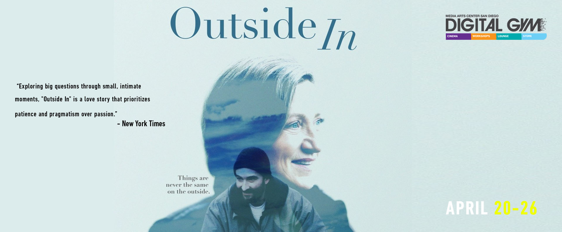 Outside In (April 20 – April 26) – starring award winning actress Edie Falco
